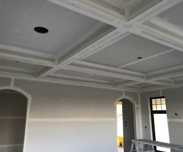 Custom Framed Ceiling with Recessed Lighting Holes